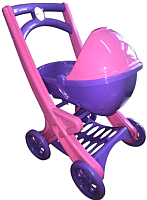 Коляска для куклы Doloni С люлькой / 0121/02 (розовый/фиолетовый) -