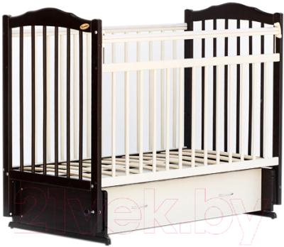 Детская кроватка Bambini М.01.10.10 (темный орех-слоновая кость)