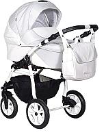Детская универсальная коляска INDIGO Alma Lux 2 в 1 (Al 04, белая кожа/светло-серый) -