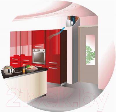 Вентилятор вытяжной Vents 100 ЛДА (матовый алюминий) - Пример монтажа