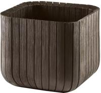 Кашпо Keter Wood Look Cube Planter L / 229533 (коричневый) -