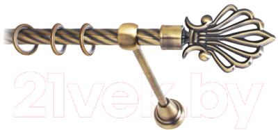 Карниз для штор Lm Decor Веер 006 1р витой (антик, 1.8м)