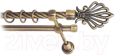 Карниз для штор Lm Decor Веер 006 2р витой (антик, 2.8м)