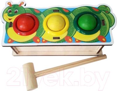 Развивающая игрушка WoodLand Toys Стучалка цветная. Гусеница / 115201