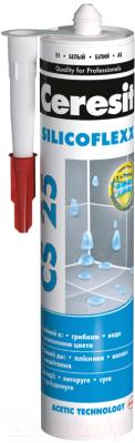 Герметик силиконовый Ceresit CS 25 (280мл, пепельно-белый)