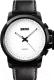 Часы наручные мужские Skmei 1208-2 (белый/черный кожаный ремешок) -