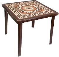 Стол пластиковый Стандарт Пластик Групп Греческий орнамент с деколью (шоколадный) -
