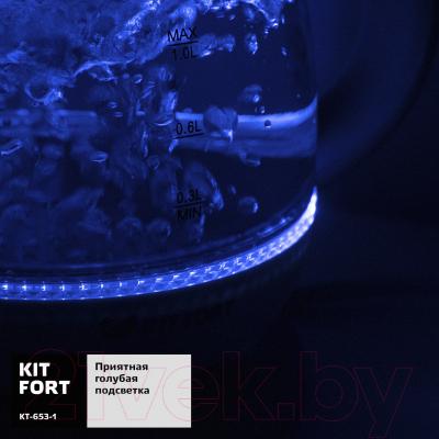 Электрочайник Kitfort KT-653-1 (голубой)