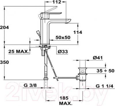Смеситель Teka Formentera 623421200 - технический чертеж