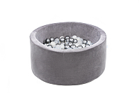 Игровой сухой бассейн Misioo 90x40 200 шаров (серый, вельвет) -