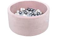 Игровой сухой бассейн Misioo 90x40 200 шаров (светло-розовый, вельвет) -
