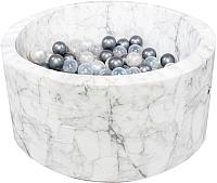 Игровой сухой бассейн Misioo 90x40 200 шаров (белый мрамор, вельвет) -