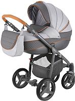 Детская универсальная коляска Adamex Sicilia 2 в 1 (X4, серый/графитовая кожа) -