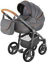 Детская универсальная коляска Adamex Sicilia 2 в 1 (X5, графитовый/графитовая кожа) -