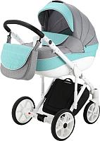 Детская универсальная коляска Adamex Sicilia Deluxe 2 в 1 (52L/бирюзовый/серый) -