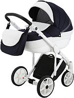 Детская универсальная коляска Adamex Sicilia Deluxe Pik 2 в 1 (10/темно-синий/белый пик) -