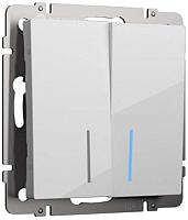Выключатель Werkel WL01-SW-2G-2W-LED / a030767 (белый) -