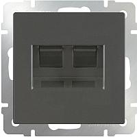 Розетка Werkel WL07-RJ11+RJ45 / a029856 (серо-коричневый) -