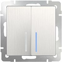 Выключатель Werkel WL13-SW-2G-LED / a040888 (перламутровый рифленый) -