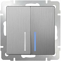 Выключатель Werkel WL09-SW-2G-LED / a035659 (серебряный рифленый) -