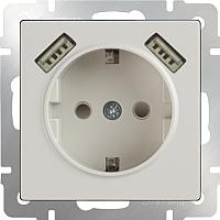 Розетка Werkel WL03-SKGS-USBx2-IP20 / a033476 (слоновая кость) -