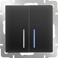 Выключатель Werkel WL08-SW-2G-LED / a029878 (черный матовый) -