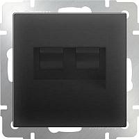 Розетка Werkel WL08-RJ45+RJ45 / a033767 (черный матовый) -
