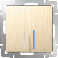 Выключатель Werkel WL10-SW-2G-LED / a035616 (шампань рифленый) -