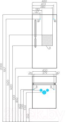Тумба под умывальник Акватон Эклипс М 46 (1A172801EK49L)