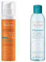 Набор косметики для лица Avene Клинанс эмульсия SPF50 50мл+вода мицеллярная 100мл -