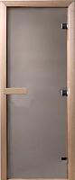 Стеклянная дверь для бани/сауны Doorwood Теплое утро 190x70 (сатин, коробка листва) -