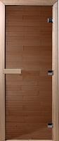 Стеклянная дверь для бани/сауны Doorwood Теплый день 200x70 (бронза, коробка листва) -