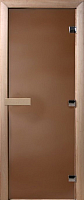 Стеклянная дверь для бани/сауны Doorwood Теплая ночь 180x70 (коробка листва) -