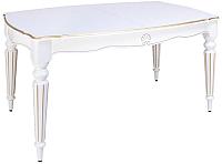 Обеденный стол ТехКомПро Лекс 9 (10) 1100x2000(2500)x750 (бук/тон 1/золотая патина/белый) -