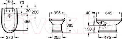 Биде напольное Roca America А357490000 - технический чертеж
