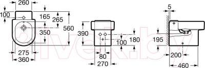 Биде напольное Roca Happening А357564000 - технический чертеж
