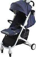 Детская прогулочная коляска Babyzz D200 (джинс, белая рама) -