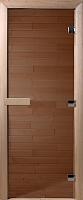 Стеклянная дверь для бани/сауны Doorwood Теплый день 190x70 (бронза, коробка листва) -