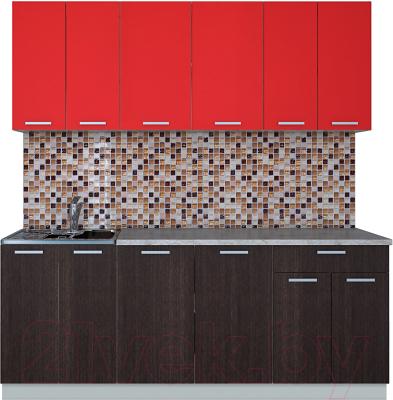 Готовая кухня Интерлиния Мила Лайт 2.0-60 (красный/дуб венге)