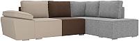 Комплект мягкой мебели Лига Диванов Хавьер правый / 101261 (рогожка бежевый/коричневый/серый) -