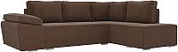 Комплект мягкой мебели Лига Диванов Хавьер правый / 101262 (рогожка коричневый) -