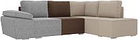 Комплект мягкой мебели Лига Диванов Хавьер правый / 101265 (рогожка серый/коричневый/бежевый) -