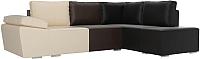 Комплект мягкой мебели Лига Диванов Хавьер правый / 101267 (экокожа бежевый/коричневый/черный) -