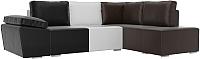 Комплект мягкой мебели Лига Диванов Хавьер правый / 101273 (экокожа черный/белый/коричневый) -