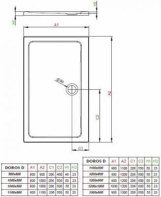 Душевой поддон Radaway Doros D800x1200 / SDRD1280-01