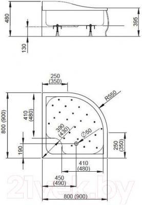 Душевой поддон Radaway Korfu A800 / 4S88400-03