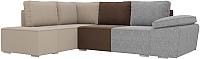 Комплект мягкой мебели Лига Диванов Хавьер левый / 101265 (рогожка серый/коричневый/бежевый) -