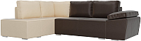 Комплект мягкой мебели Лига Диванов Хавьер левый / 101270 (экокожа коричневый/бежевый) -