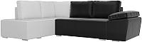 Комплект мягкой мебели Лига Диванов Хавьер левый / 101272 (экокожа черный/белый) -