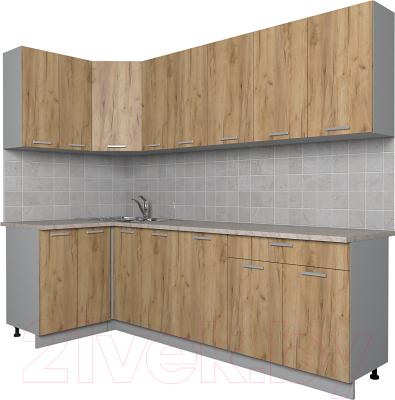 Готовая кухня Интерлиния Мила Лайт 1.2x2.5 (дуб золотой)